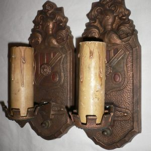 Gorgeous Pair of Antique Spanish Revival Figural Sconces, Markel Co.-0