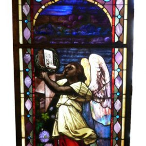 Rare William Reith Antique Figural Stained Glass Window, Angel with Crown of Thorns-0