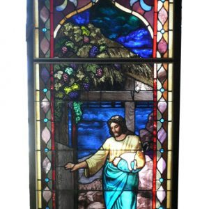 Rare William Reith Antique Figural Stained Glass Window, Christ as Shepherd with Sheep-0