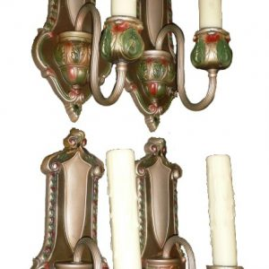 Four Matching Antique Brass Neoclassical Single-Arm Sconces, Original Polychrome Finish-0