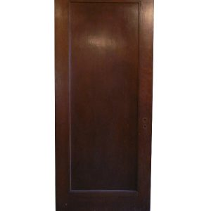 Antique One-Panel Solid Wood Door with Narrow Trim, Stained Finish-0