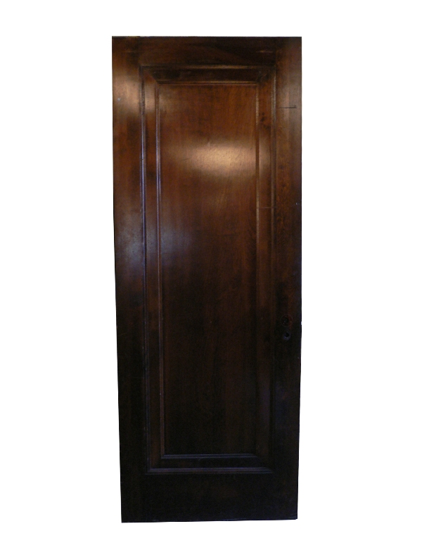 """Antique One-Panel Solid Wood """"Miracle Door"""" with Wide Trim, Stained Finish-0"""
