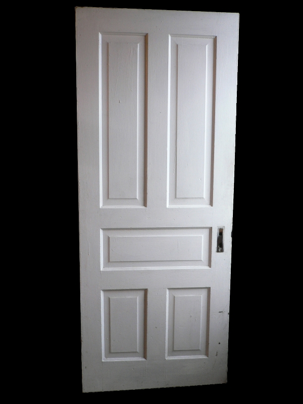 Antique Five-Panel Solid Wood Door-0