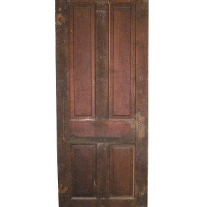 Antique Four-Panel Solid Wood Door, Stained Finish-0