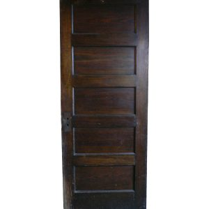 Antique Five-Panel Solid Wood Door, Stained Finish-0
