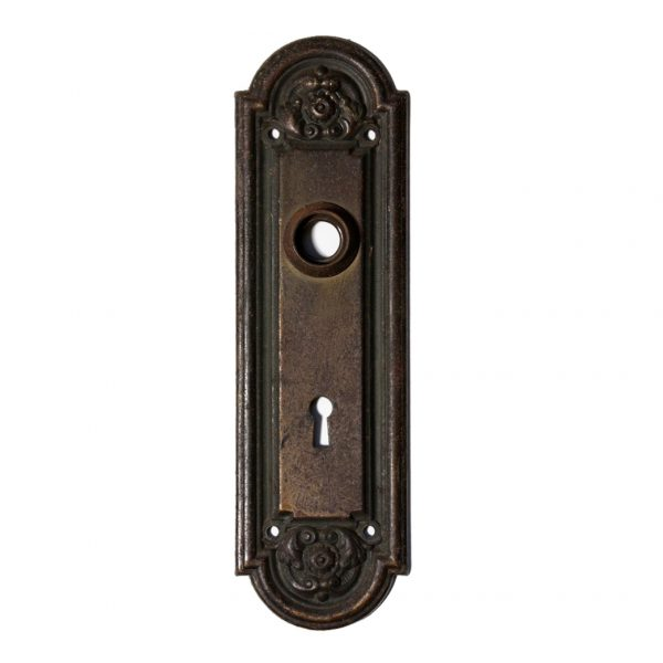 """Antique Neoclassical Arched Door Plates, """"Nubian"""" by Yale & Towne, c. 1910 NDP8-0"""