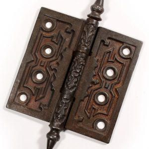 "Antique 4-1/2"" Cast Iron Hinge with Geometric Design-0"
