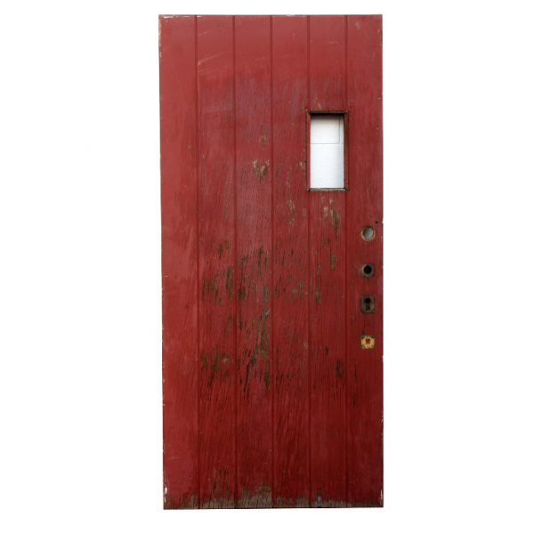 """Antique 36"""" Exterior Plank Door with Small Window, Early 1900s-0"""