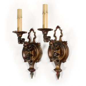 Fascinating Pair of Antique Single-Arm Polychrome Sconces with Flower-0