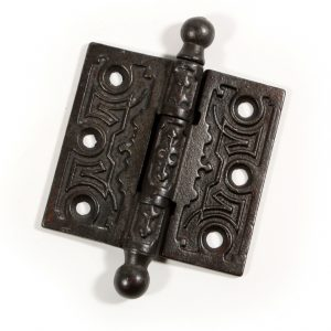 """Antique 3"""" Cast Iron Eastlake Hinge with Ball Finials-0"""