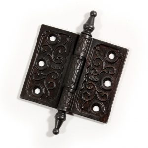 "Wonderful Antique 3-1/2"" by 3"" Eastlake Hinge with Steeple Finials, Cast Iron-0"