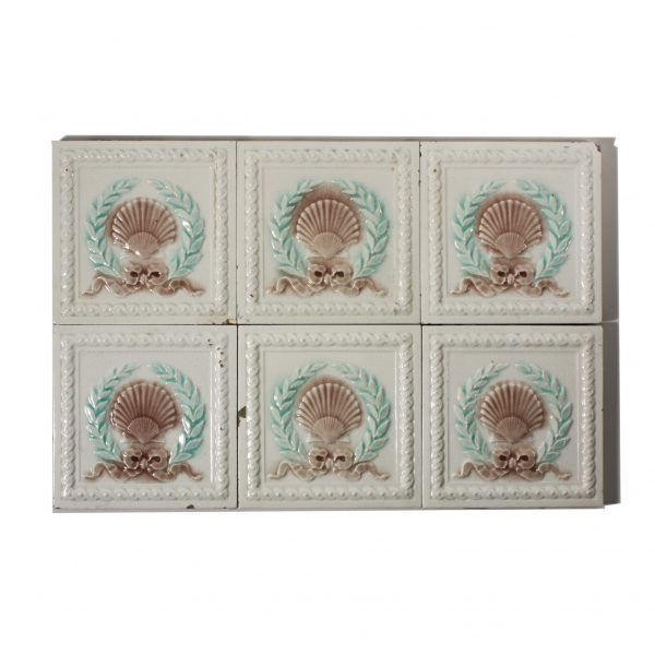 """Antique Tile with Seashell Design, 6"""" x 6"""", 19th Century-0"""