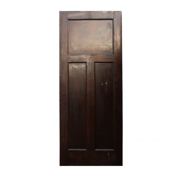 Antique Three-Panel Solid Wood Door, Stained Finish-0