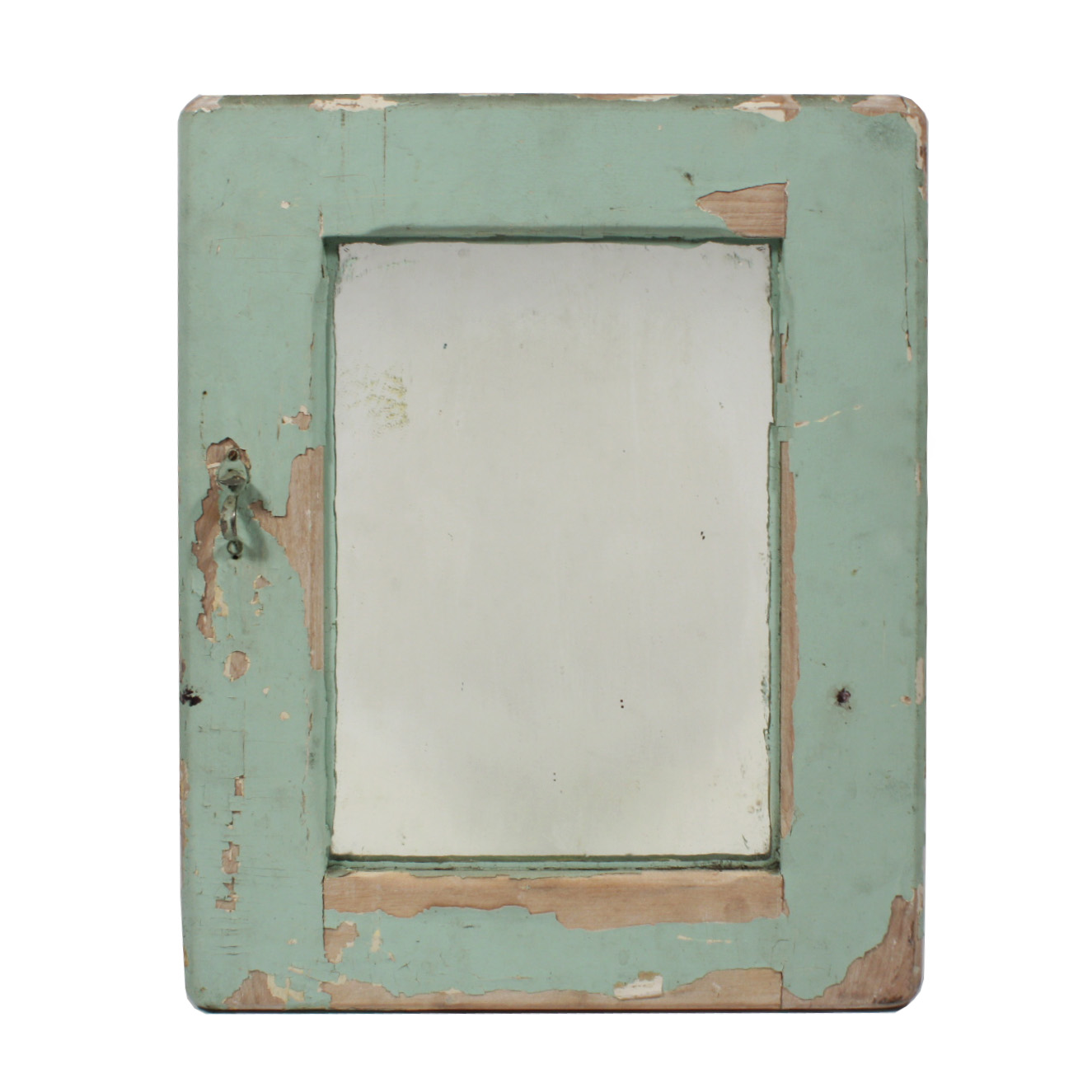 Petite Bathroom Medicine Cabinet With Mirror Mint Green Chippy Paint