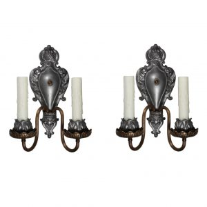 Superb Pair of Antique Neoclassical Double-Arm Sconces, Pewter and Brass-0