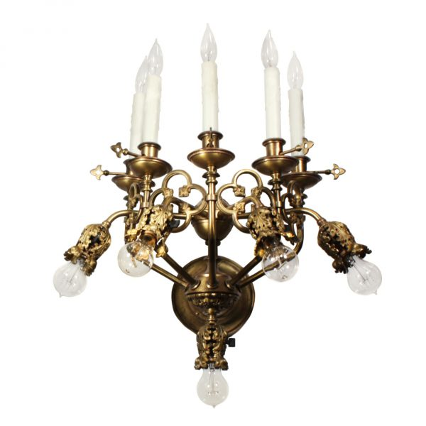 Magnificent Antique 19th Century Ten-Light Sconce, Gothic Revival-0