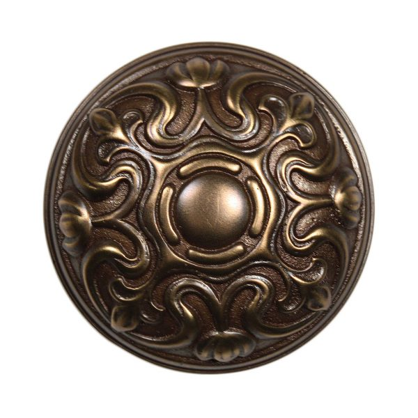 "Elegant Antique Cast Bronze Lockwood ""Normandy"" Doorknob, Fleur-De-Lis, c. 1914-0"