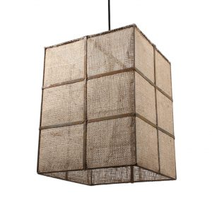 Custom-Made Burlap Light Fixture, Rectangular Shape-0