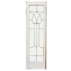 Antique American Beveled and Leaded Glass Window, Stylized Flower-0