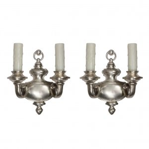 Stunning Pair of Antique Adam Style Double-Arm Sconces, Silver Plate -0