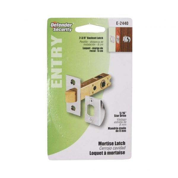 "Modern Mortise Latch Set for Antique Knobs, 2 3/8"" Backset, 5/16"" Square Drive, Chrome-0"