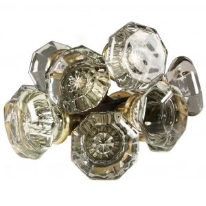 Antique Octagonal Glass Door Knob Set-0