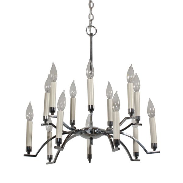 Streamlined Vintage Chrome Chandelier-0