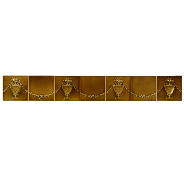 """Antique Tile Frieze with Floral Swags and Urns, Trent Tile Co., 6"""" x 6""""-0"""