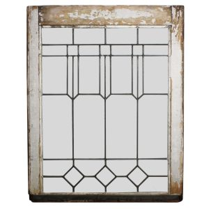 Handsome Antique Arts & Crafts American Leaded Glass Window-0