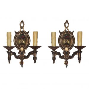 Delightful Antique Double-Arm Sconces with Original Polychrome-0