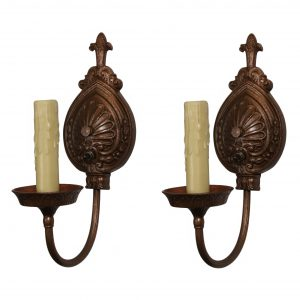 Marvelous Pair of Cast Iron Sconces by Moe Bridges-0