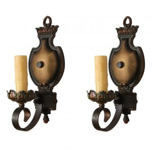 Marvelous Pair of Cast Iron Sconces with Original Polychrome-0