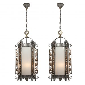 Substantial Antique Gothic Revival Lanterns, Iron & Brass, c. 1910-0