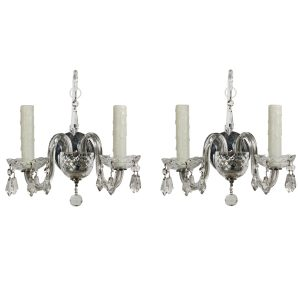 Graceful Pair of Antique Sconces with Original Prisms-0