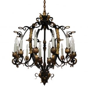Substantial Antique Twelve-Light Two-Tone Iron and Bronze Chandelier -0