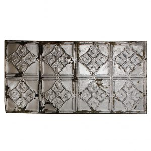 Antique 2'x4' Ceiling Tin Tiles with Leafy Design, Early 1900s-0