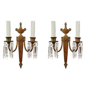 Elegant Pair of Antique Cast Bronze Sconces, Signed E.F Caldwell-0