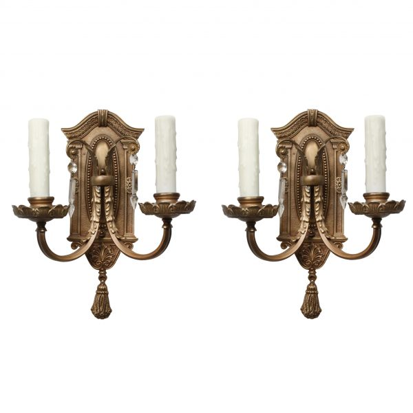Neoclassical Cast Bronze Double-Arm Sconce Pair matching