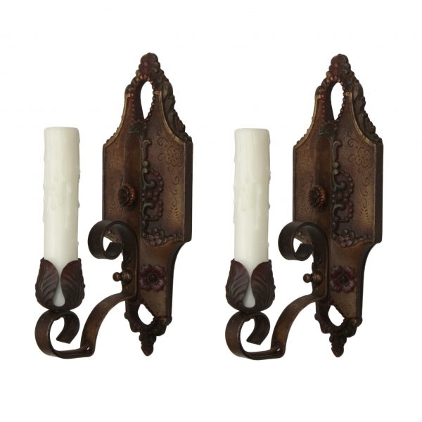 Antique Single Arm Sconces by Lincoln, Original Polychrome Finish-0