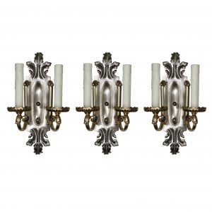 Antique Silver Plated Double-Arm Sconces matching