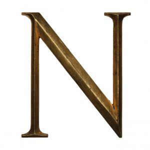 "Salvaged Cast Bronze Letter ""N"", Cincinnati, OH-0"