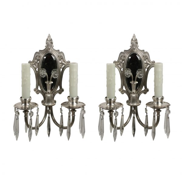 Antique Mirrored Neoclassical Sconce Pair with Prisms-0