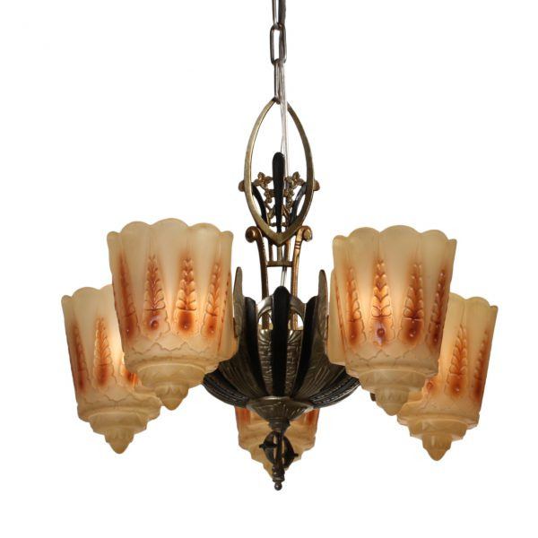 Antique Art Deco Slip Shade Chandelier by Lincoln, c.1920-0