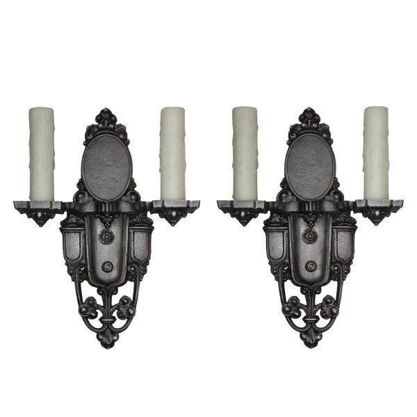Antique Pair of Spanish Revival Sconces, Signed Riddle Co.-0