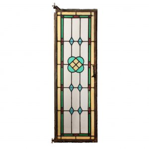 Antique American Stained Glass Window with Metal Frame front