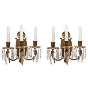 Antique Neoclassical Three-Arm Sconce Pair with Spear Prisms-0