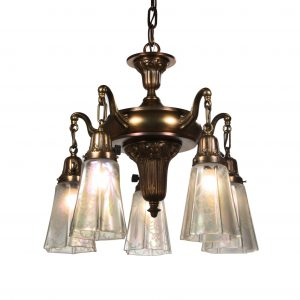 SOLD Antique Neoclassical Chandelier with Original Opalescent Shades-0