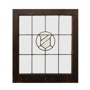 Antique American Beveled and Leaded Glass Window, Shield-0