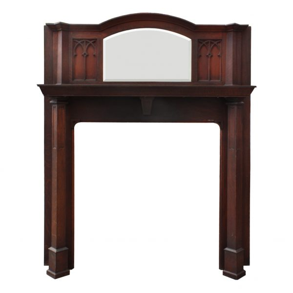 Antique Gothic Revival Oak Fireplace Mantel with Beveled Mirror, c. 1920-0