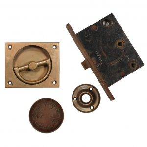 Complete Antique Hardware Set by Corbin with Recessed Handle-0